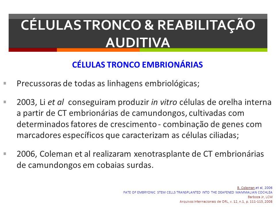 CÉLULAS TRONCO EMBRIONÁRIAS Precussoras de todas as linhagens embriológicas; 2003, Li et al conseguiram produzir in vitro células de orelha interna a