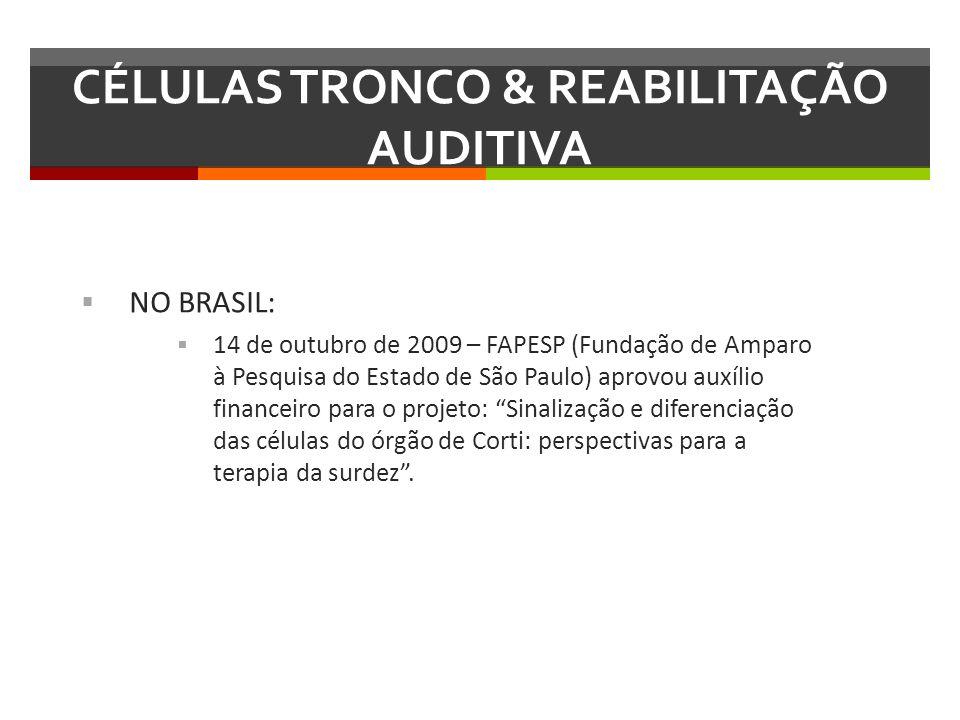 NO BRASIL: 14 de outubro de 2009 – FAPESP (Fundação de Amparo à Pesquisa do Estado de São Paulo) aprovou auxílio financeiro para o projeto: Sinalizaçã
