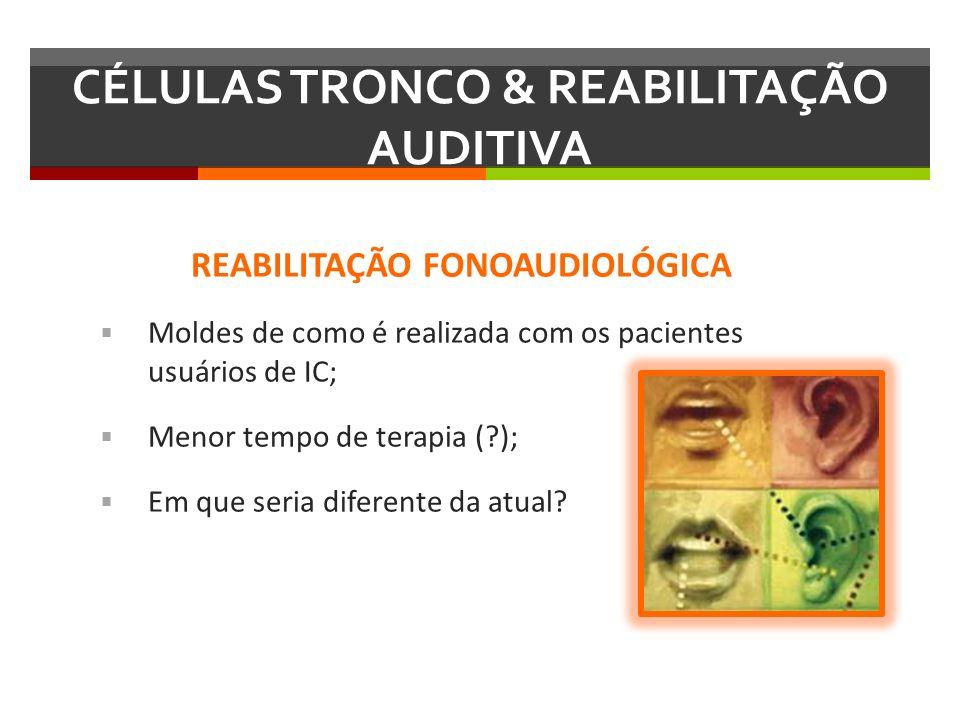 REABILITAÇÃO FONOAUDIOLÓGICA Moldes de como é realizada com os pacientes usuários de IC; Menor tempo de terapia (?); Em que seria diferente da atual?