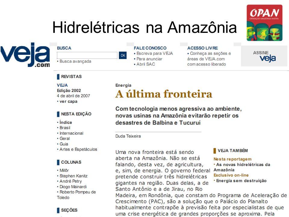 Hidrelétricas na Amazônia