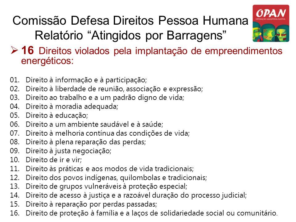 Comissão Defesa Direitos Pessoa Humana Relatório Atingidos por Barragens 16 Direitos violados pela implantação de empreendimentos energéticos: 01. Dir