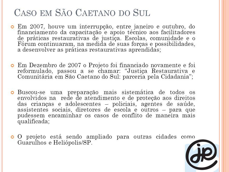 C ASO EM S ÃO C AETANO DO S UL Em 2007, houve um interrupção, entre janeiro e outubro, do financiamento da capacitação e apoio técnico aos facilitadores de práticas restaurativas de justiça.