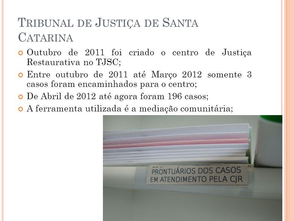 T RIBUNAL DE J USTIÇA DE S ANTA C ATARINA Outubro de 2011 foi criado o centro de Justiça Restaurativa no TJSC; Entre outubro de 2011 até Março 2012 so