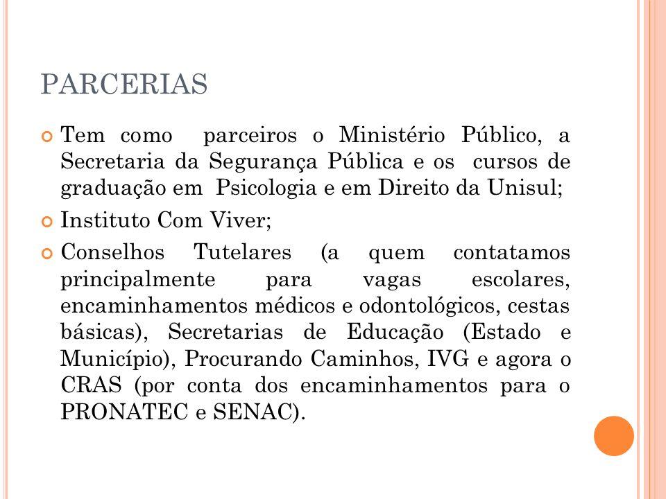 PARCERIAS Tem como parceiros o Ministério Público, a Secretaria da Segurança Pública e os cursos de graduação em Psicologia e em Direito da Unisul; In
