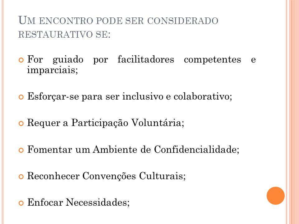 U M ENCONTRO PODE SER CONSIDERADO RESTAURATIVO SE : For guiado por facilitadores competentes e imparciais; Esforçar-se para ser inclusivo e colaborativo; Requer a Participação Voluntária; Fomentar um Ambiente de Confidencialidade; Reconhecer Convenções Culturais; Enfocar Necessidades;