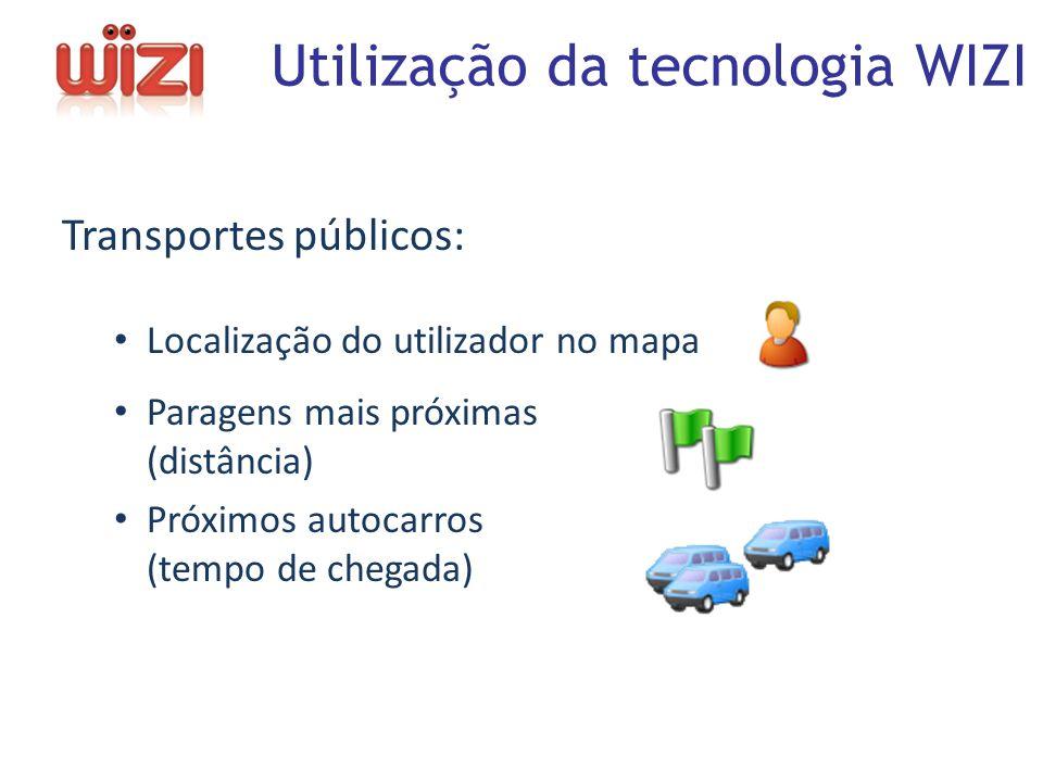 Transportes públicos: Localização do utilizador no mapa Paragens mais próximas (distância) Próximos autocarros (tempo de chegada) Utilização da tecnologia WIZI