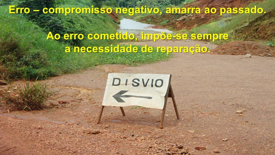 Erro – compromisso negativo, amarra ao passado. Ao erro cometido, impõe-se sempre a necessidade de reparação.