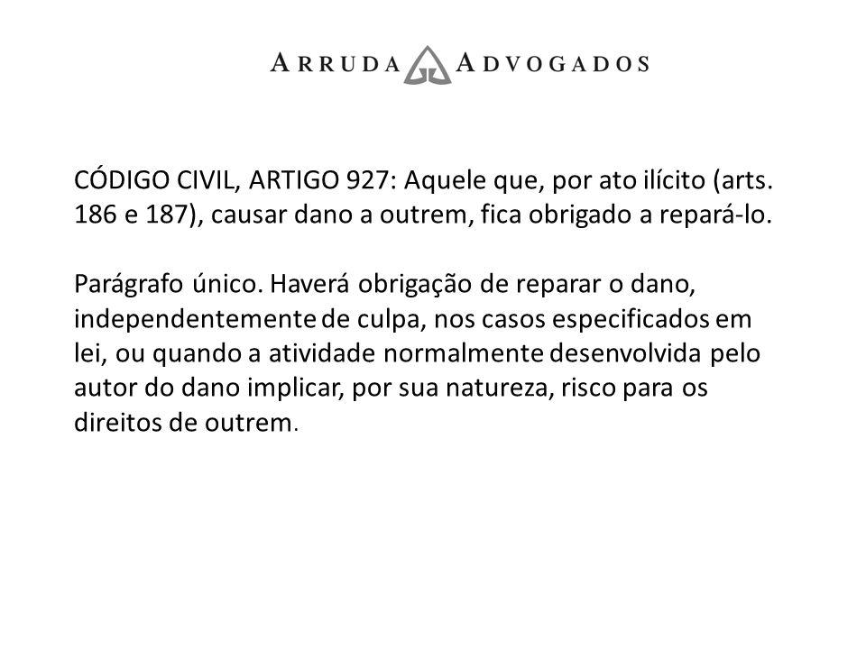 CÓDIGO CIVIL, ARTIGO 927: Aquele que, por ato ilícito (arts. 186 e 187), causar dano a outrem, fica obrigado a repará-lo. Parágrafo único. Haverá obri