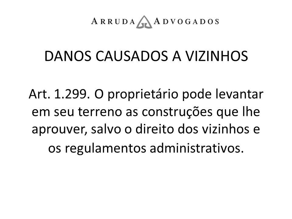 DANOS CAUSADOS A VIZINHOS Art. 1.299. O proprietário pode levantar em seu terreno as construções que lhe aprouver, salvo o direito dos vizinhos e os r