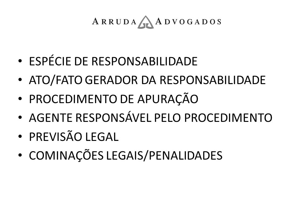 ESPÉCIE DE RESPONSABILIDADE ATO/FATO GERADOR DA RESPONSABILIDADE PROCEDIMENTO DE APURAÇÃO AGENTE RESPONSÁVEL PELO PROCEDIMENTO PREVISÃO LEGAL COMINAÇÕ
