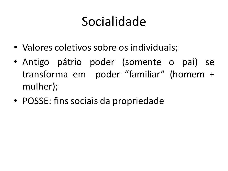Socialidade Valores coletivos sobre os individuais; Antigo pátrio poder (somente o pai) se transforma em poder familiar (homem + mulher); POSSE: fins