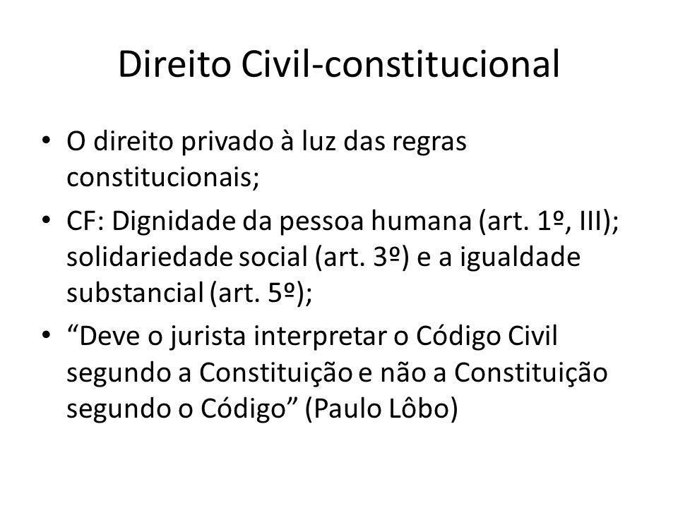 Direito Civil-constitucional O direito privado à luz das regras constitucionais; CF: Dignidade da pessoa humana (art. 1º, III); solidariedade social (