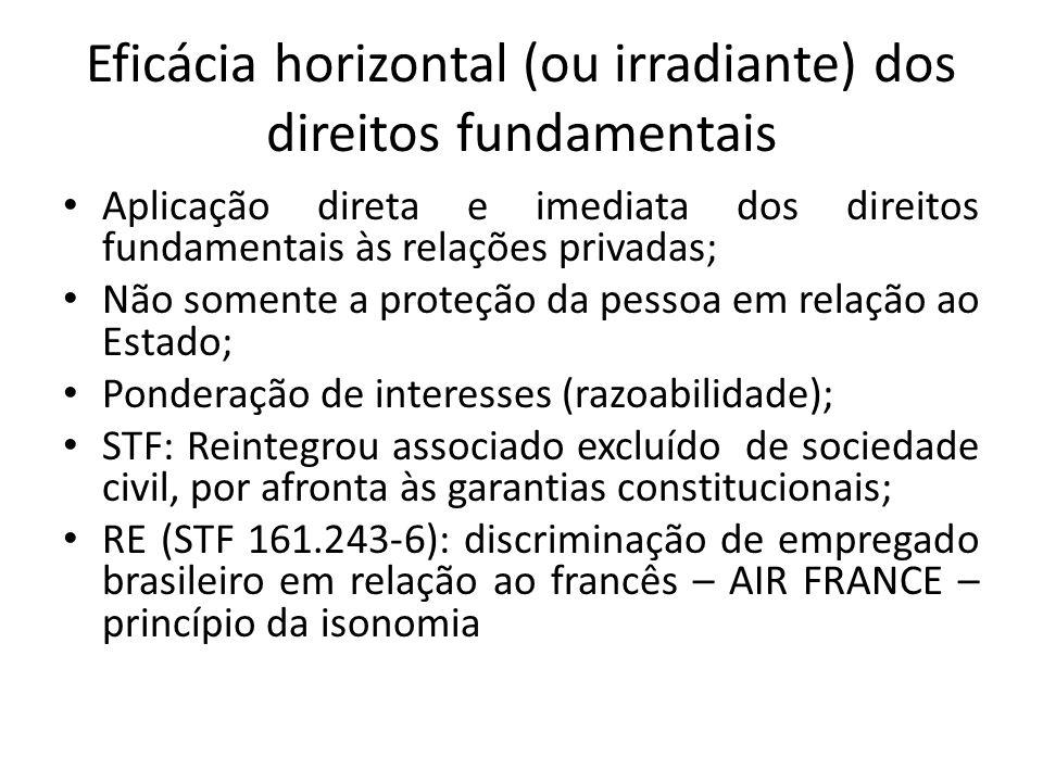 Eficácia horizontal (ou irradiante) dos direitos fundamentais Aplicação direta e imediata dos direitos fundamentais às relações privadas; Não somente