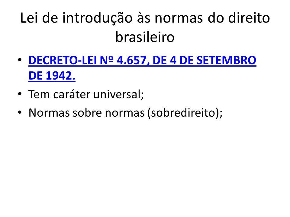 Lei de introdução às normas do direito brasileiro DECRETO-LEI Nº 4.657, DE 4 DE SETEMBRO DE 1942. DECRETO-LEI Nº 4.657, DE 4 DE SETEMBRO DE 1942. Tem