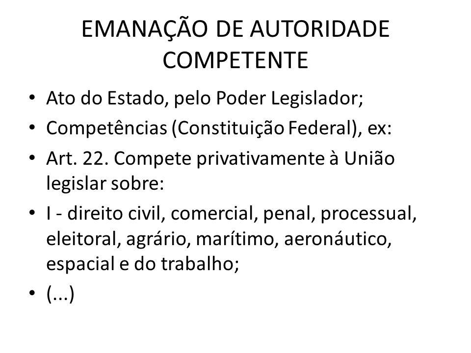 EMANAÇÃO DE AUTORIDADE COMPETENTE Ato do Estado, pelo Poder Legislador; Competências (Constituição Federal), ex: Art. 22. Compete privativamente à Uni