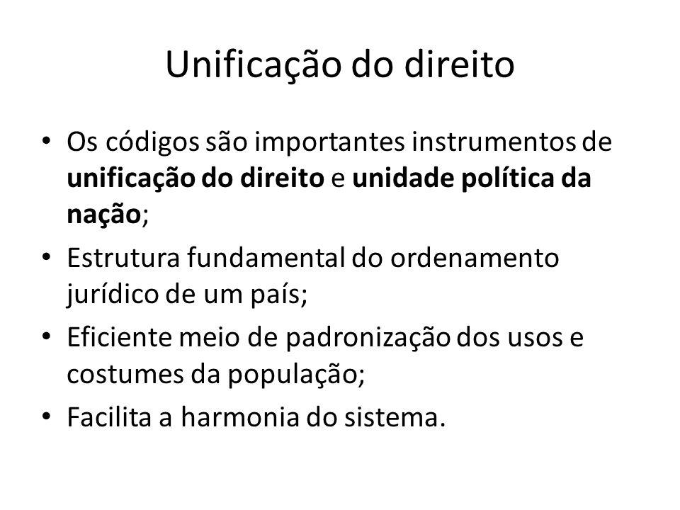 Unificação do direito Os códigos são importantes instrumentos de unificação do direito e unidade política da nação; Estrutura fundamental do ordenamen