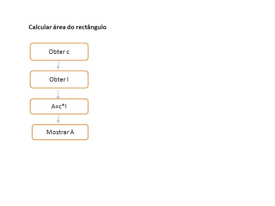 Calcular área do rectângulo Obter c Obter l A=c*l Mostrar A