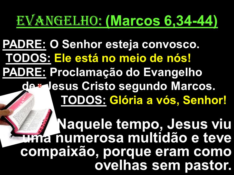 EVANGELHO: (Marcos 6,34-44) PADRE: O Senhor esteja convosco. TODOS: Ele está no meio de nós! PADRE: Proclamação do Evangelho de Jesus Cristo segundo M
