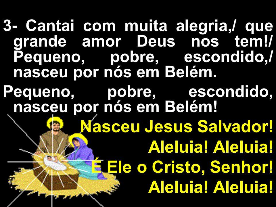 3- Cantai com muita alegria,/ que grande amor Deus nos tem!/ Pequeno, pobre, escondido,/ nasceu por nós em Belém. Pequeno, pobre, escondido, nasceu po