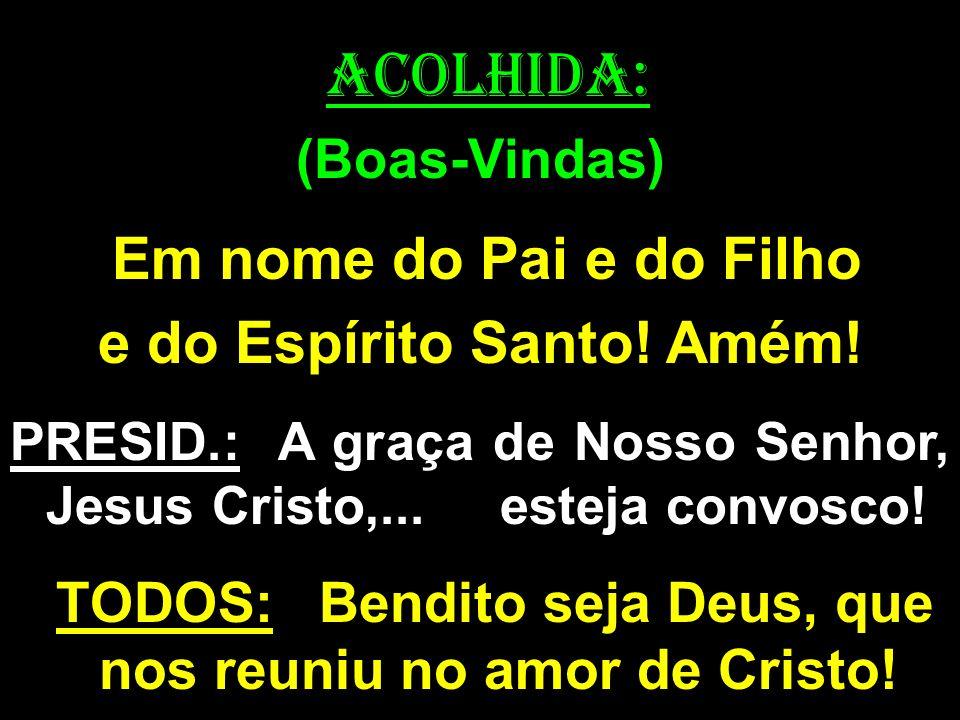 ACOLHIDA: (Boas-Vindas) Em nome do Pai e do Filho e do Espírito Santo! Amém! PRESID.: A graça de Nosso Senhor, Jesus Cristo,... esteja convosco! TODOS