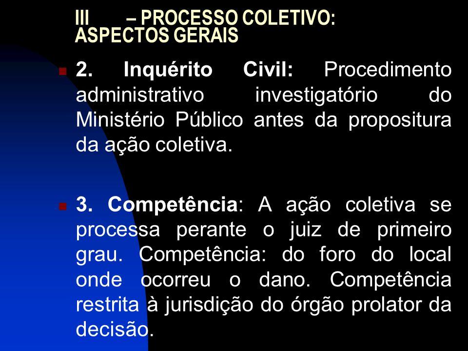 III – PROCESSO COLETIVO: ASPECTOS GERAIS 2. Inquérito Civil: Procedimento administrativo investigatório do Ministério Público antes da propositura da