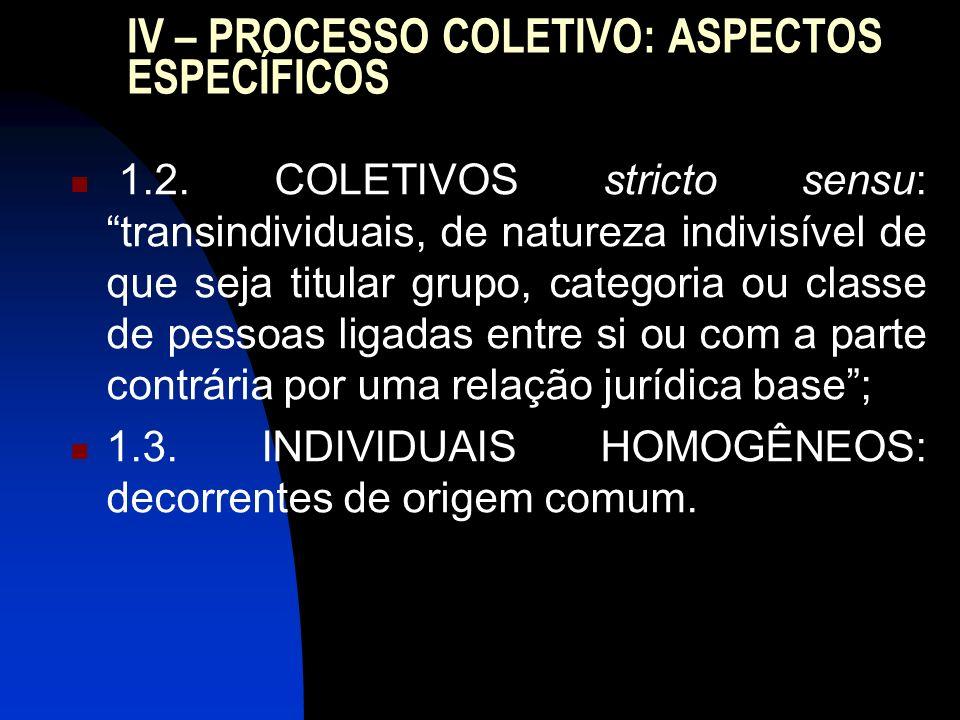 IV – PROCESSO COLETIVO: ASPECTOS ESPECÍFICOS 1.2. COLETIVOS stricto sensu: transindividuais, de natureza indivisível de que seja titular grupo, catego