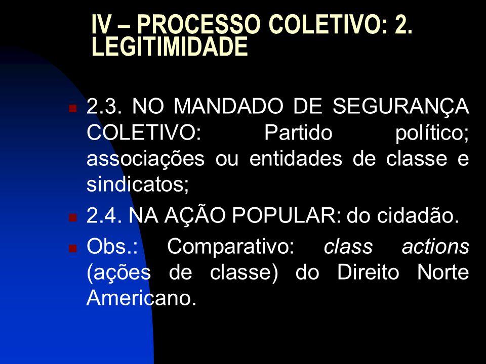 IV – PROCESSO COLETIVO: 2. LEGITIMIDADE 2.3. NO MANDADO DE SEGURANÇA COLETIVO: Partido político; associações ou entidades de classe e sindicatos; 2.4.