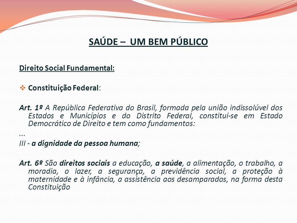 SAÚDE – UM BEM PÚBLICO Direito Social Fundamental: Constituição Federal: Art.