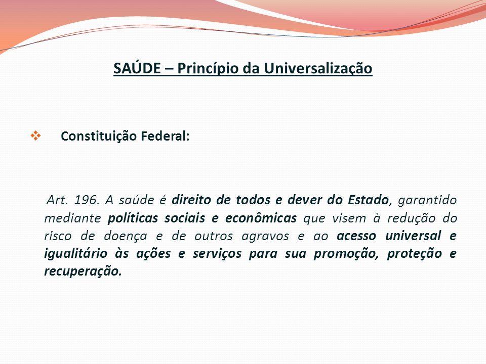 SAÚDE – Princípio da Universalização Constituição Federal: Art.
