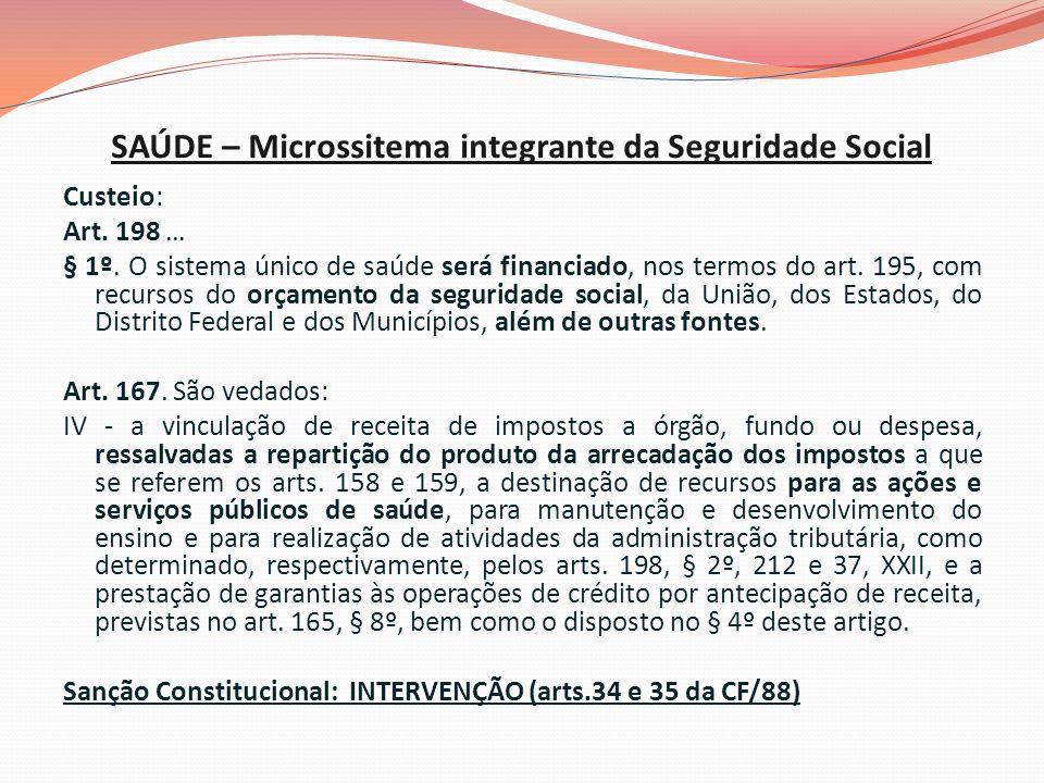 SAÚDE – Microssitema integrante da Seguridade Social Custeio: Art.