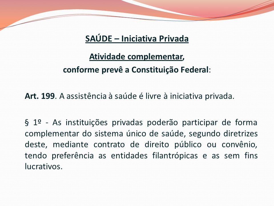 SAÚDE – Iniciativa Privada Atividade complementar, conforme prevê a Constituição Federal: Art.