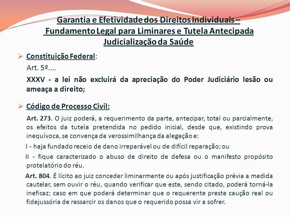 Garantia e Efetividade dos Direitos Individuais – Fundamento Legal para Liminares e Tutela Antecipada Judicialização da Saúde Constituição Federal: Art.