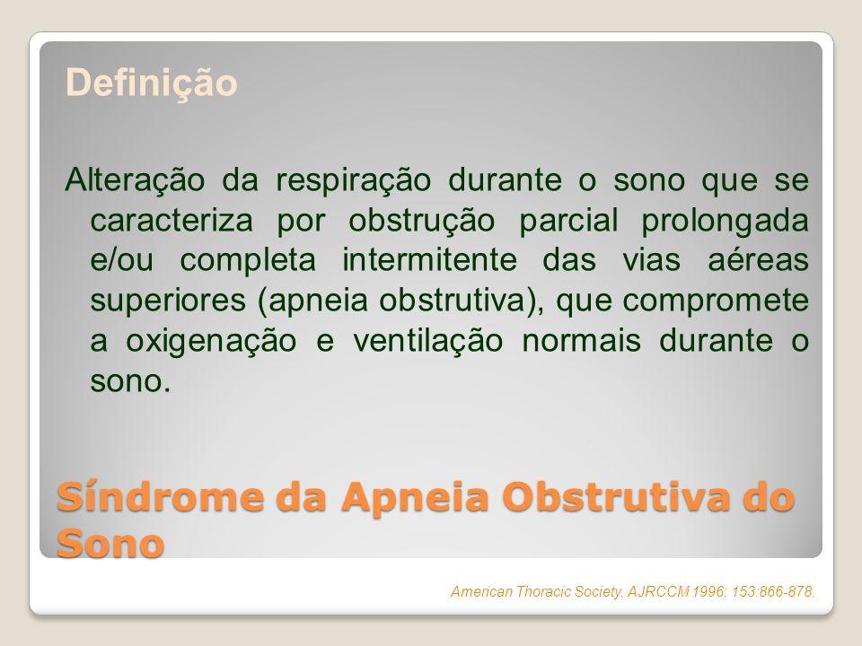 Definição Alteração da respiração durante o sono que se caracteriza por obstrução parcial prolongada e/ou completa intermitente das vias aéreas superi