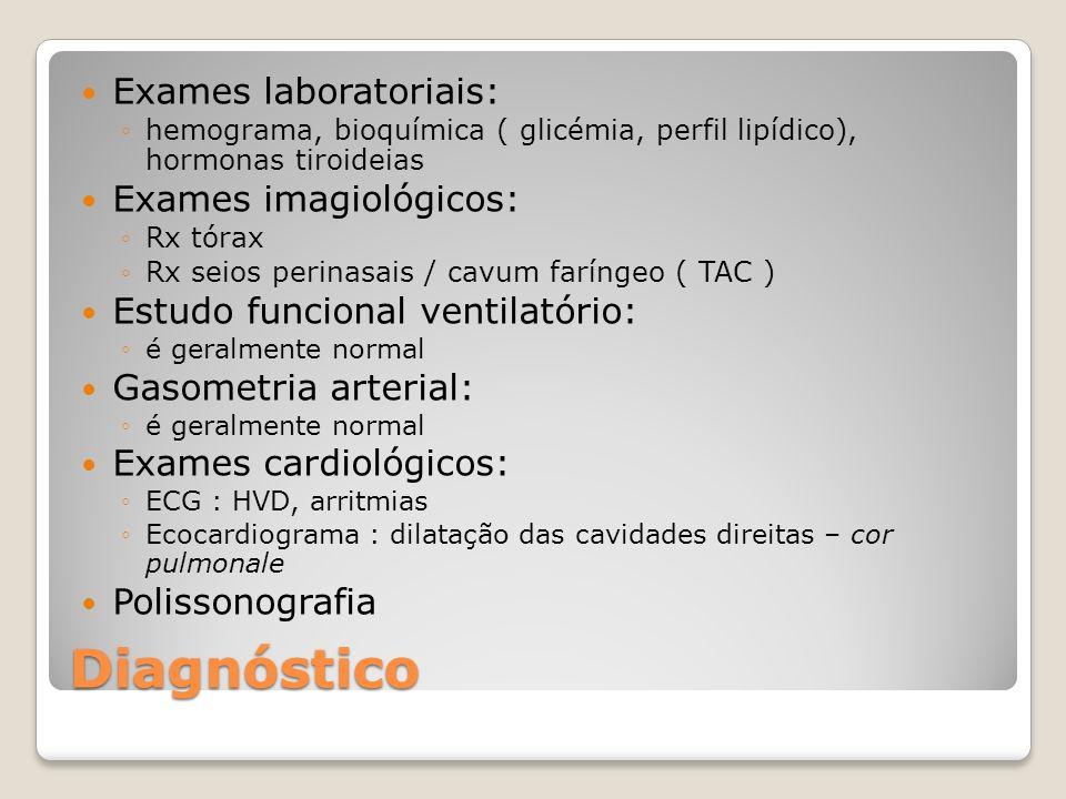 Diagnóstico Exames laboratoriais: hemograma, bioquímica ( glicémia, perfil lipídico), hormonas tiroideias Exames imagiológicos: Rx tórax Rx seios peri