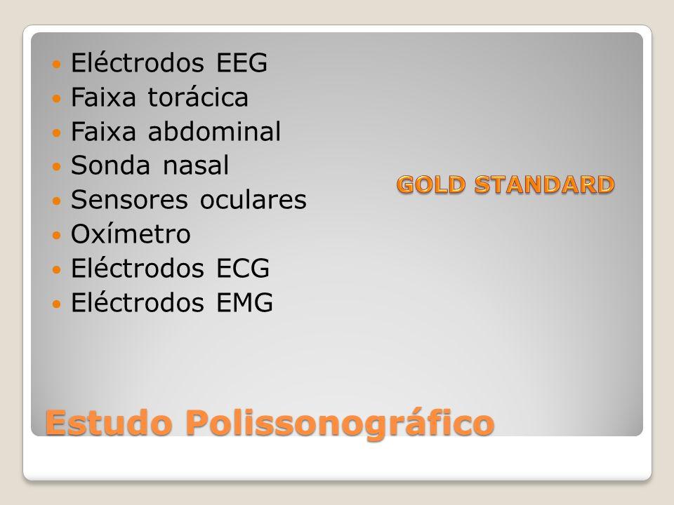 Estudo Polissonográfico Eléctrodos EEG Faixa torácica Faixa abdominal Sonda nasal Sensores oculares Oxímetro Eléctrodos ECG Eléctrodos EMG