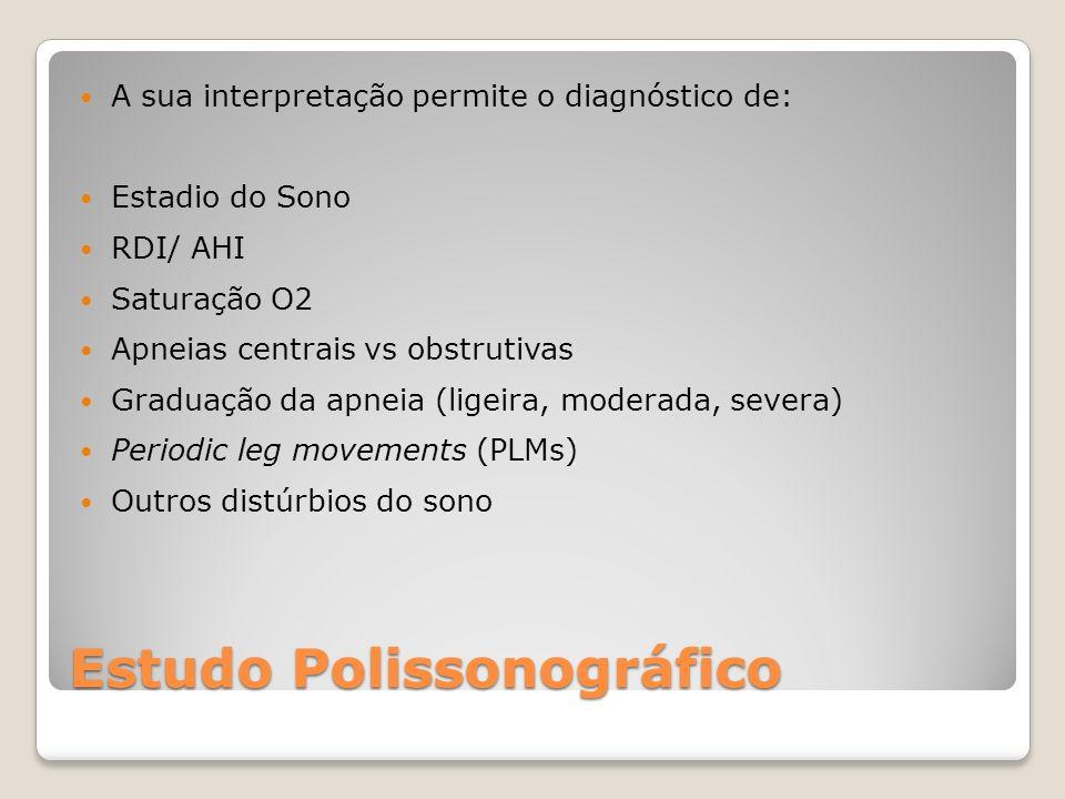 Estudo Polissonográfico A sua interpretação permite o diagnóstico de: Estadio do Sono RDI/ AHI Saturação O2 Apneias centrais vs obstrutivas Graduação