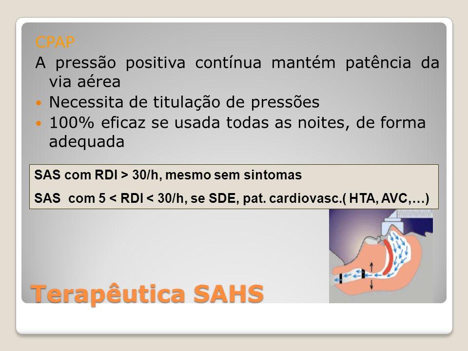 Terapêutica SAHS CPAP A pressão positiva contínua mantém patência da via aérea Necessita de titulação de pressões 100% eficaz se usada todas as noites