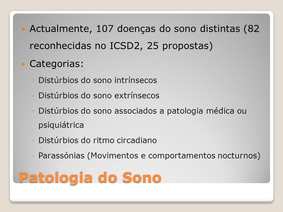 Actualmente, 107 doenças do sono distintas (82 reconhecidas no ICSD2, 25 propostas) Categorias: Distúrbios do sono intrínsecos Distúrbios do sono extr