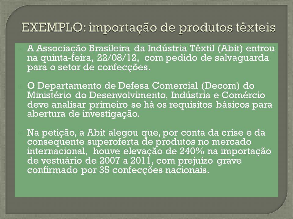 A Associação Brasileira da Indústria Têxtil (Abit) entrou na quinta-feira, 22/08/12, com pedido de salvaguarda para o setor de confecções. O Departame