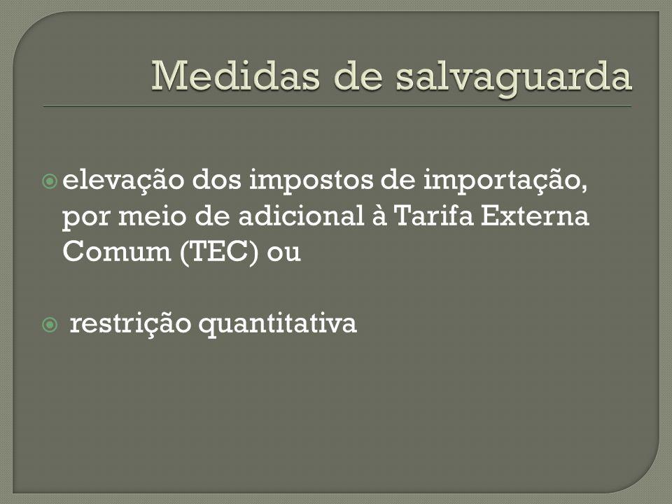 elevação dos impostos de importação, por meio de adicional à Tarifa Externa Comum (TEC) ou restrição quantitativa