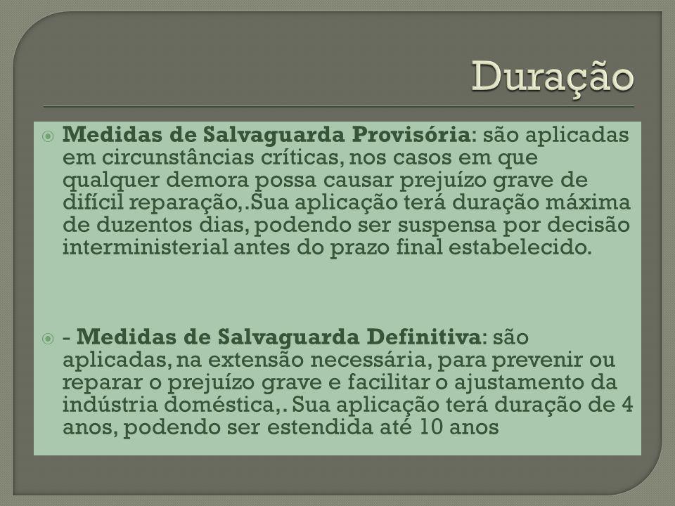 Medidas de Salvaguarda Provisória: são aplicadas em circunstâncias críticas, nos casos em que qualquer demora possa causar prejuízo grave de difícil r
