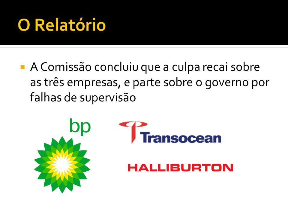 A Comissão concluiu que a culpa recai sobre as três empresas, e parte sobre o governo por falhas de supervisão