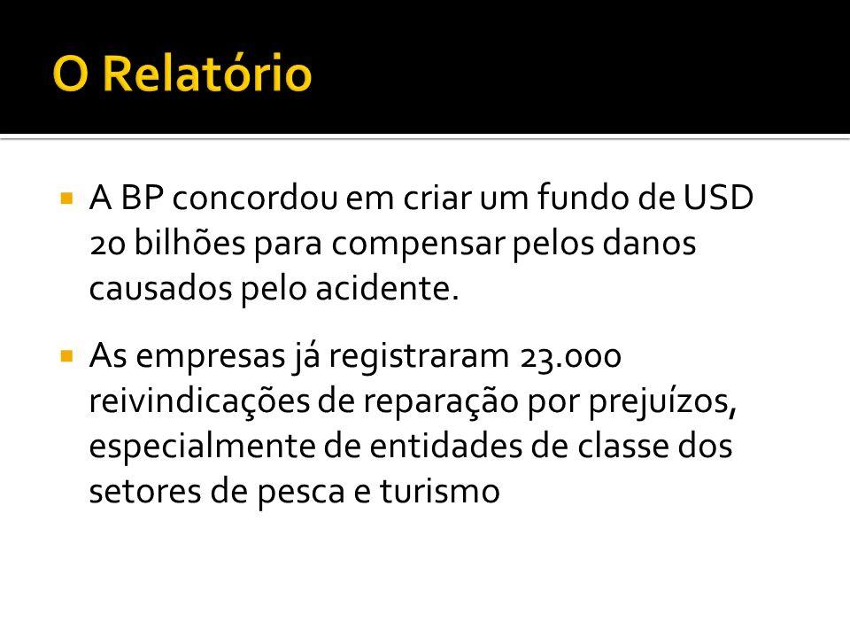 A BP concordou em criar um fundo de USD 20 bilhões para compensar pelos danos causados pelo acidente. As empresas já registraram 23.000 reivindicações