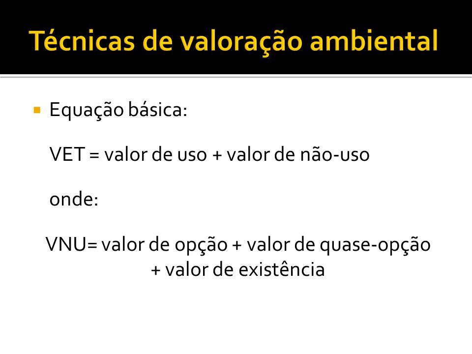 Equação básica: VET = valor de uso + valor de não-uso onde: VNU= valor de opção + valor de quase-opção + valor de existência