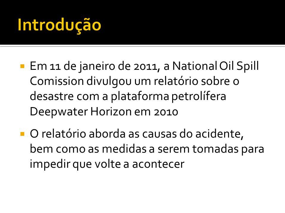 Em 11 de janeiro de 2011, a National Oil Spill Comission divulgou um relatório sobre o desastre com a plataforma petrolífera Deepwater Horizon em 2010