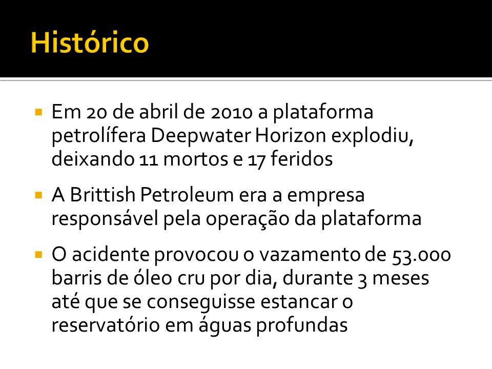 Em 20 de abril de 2010 a plataforma petrolífera Deepwater Horizon explodiu, deixando 11 mortos e 17 feridos A Brittish Petroleum era a empresa respons