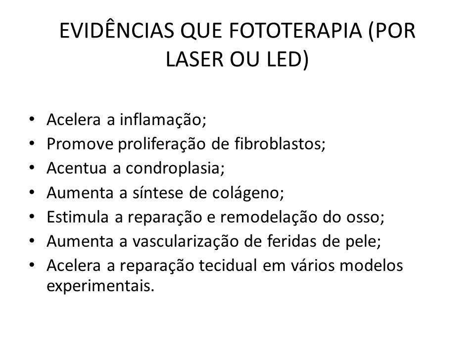 EVIDÊNCIAS QUE FOTOTERAPIA (POR LASER OU LED) Acelera a inflamação; Promove proliferação de fibroblastos; Acentua a condroplasia; Aumenta a síntese de