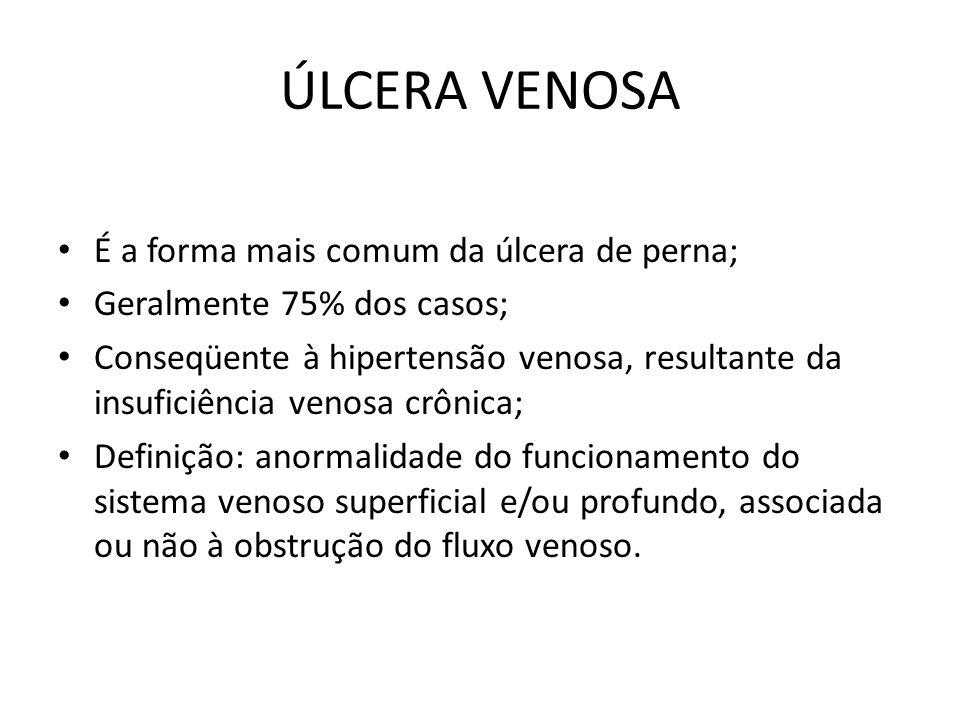 ÚLCERA VENOSA É a forma mais comum da úlcera de perna; Geralmente 75% dos casos; Conseqüente à hipertensão venosa, resultante da insuficiência venosa