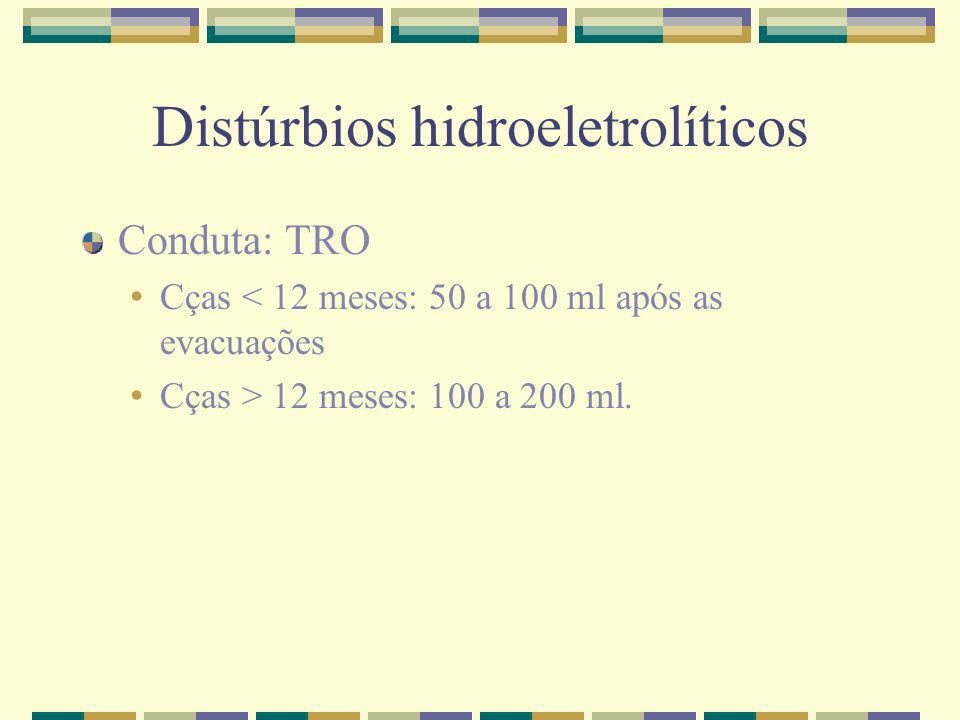 Distúrbios hidroeletrolíticos Conduta: TRO Cças < 12 meses: 50 a 100 ml após as evacuações Cças > 12 meses: 100 a 200 ml.