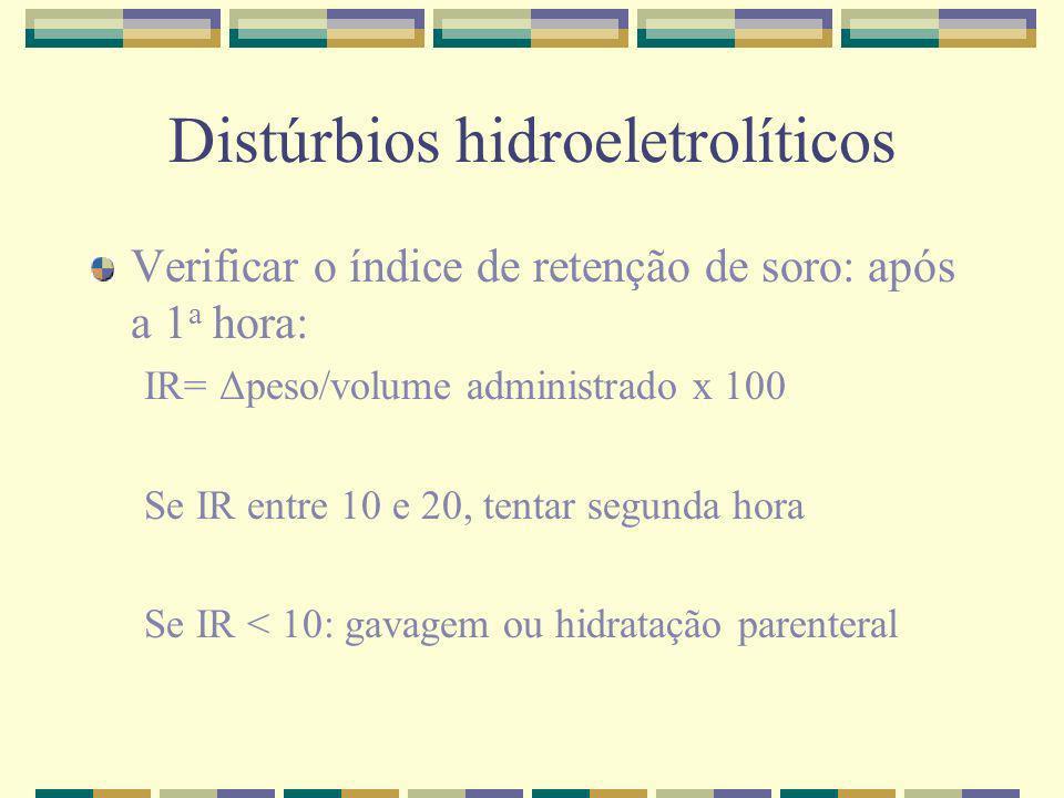 Distúrbios hidroeletrolíticos Verificar o índice de retenção de soro: após a 1 a hora: IR= Δpeso/volume administrado x 100 Se IR entre 10 e 20, tentar